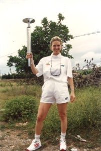 Michelle Segar Carrying Olympic Torch 1992