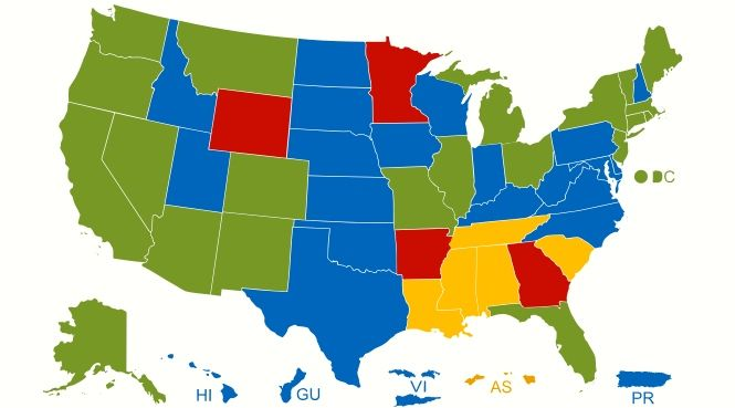 United America Core Value Equal Opportunity Center For - Color coded map of us